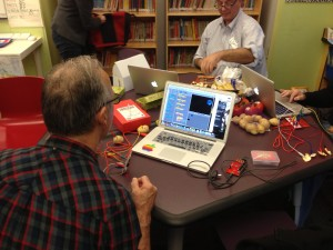 Using Scratch and the MakeyMakey board to program with food at EdCamp NYC.