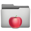 Silver folder with apple
